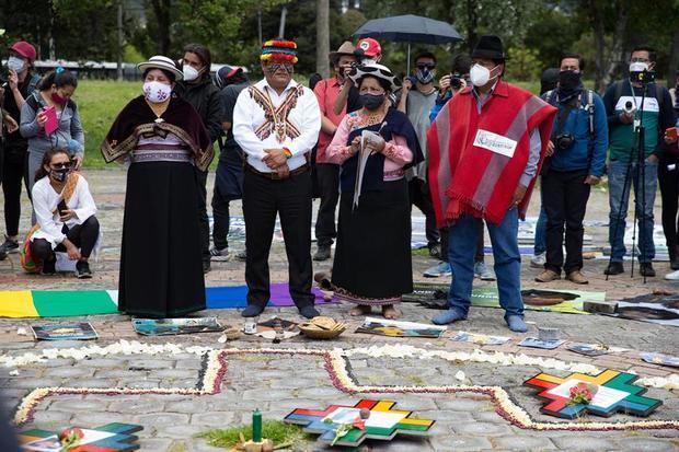 Representantes de la Confederación de Nacionalidades Indígenas del Ecuador (CONAIE) fueron registrados este lunes, al denunciar presuntas vulneraciones de sus derechos humanos durante las manifestaciones de octubre de 2019, en Quito, Ecuador.