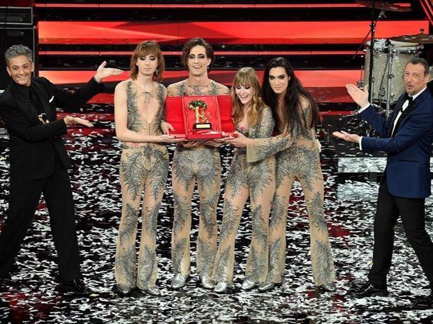 El grupo de rock italiano 'I Maneskin' ganó el Festival de Sanremo con su canción 'Zitti e buoni' (Callados y buenos).