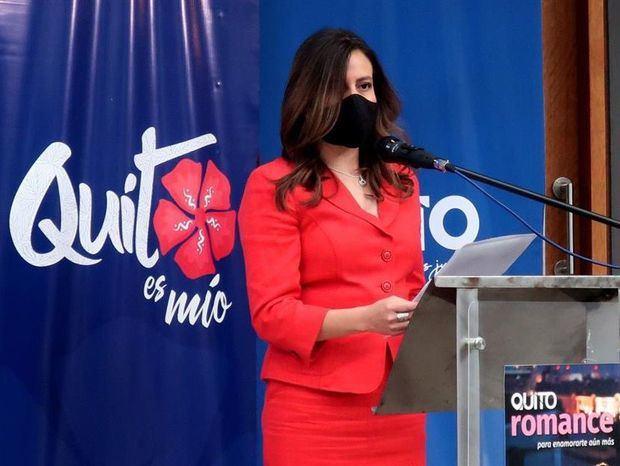 Fotografía de archivo de la gerenta de Quito Turismo, Carla Cárdenas, durante el lanzamiento del producto turístico 'Quito Romance', el 12 de noviembre de 2020 en Quito, Ecuador.