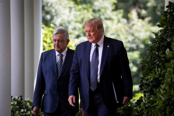 El presidente de EE.UU., Donald J. Trump, junto a su homólogo mexicano, Andrés Manuel López Obrador, en la Casa Blanca, este 8 de julio de 2020.