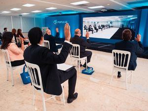 La asamblea del Banco Popular Dominicano fue realizada en la Torre Popular cumpliendo con las medidas de distanciamiento físico.