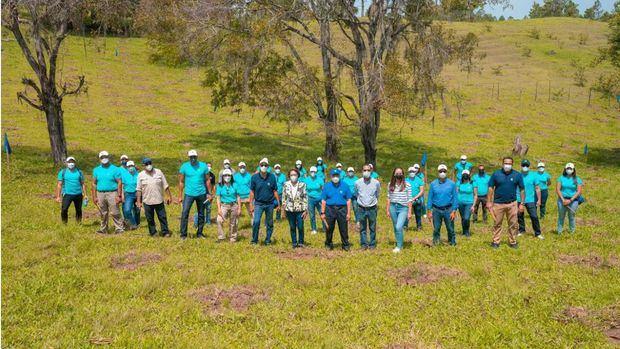 Los empleados voluntarios sembraron un total de 1,500 árboles en terrenos del Plan Sierra, en San José de las Matas, provincia Santiago.