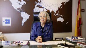 La presidenta de la Agencia Efe, Gabriela Cañas, durante una entrevista celebrada en Madrid.