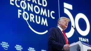 El presidente Donald Trump habló en el Foro Económico Mundial de Davos, Suiza, el martes, 21 de enero de 2020 y destacó los logros de la economía estadounidense bajo su administración.