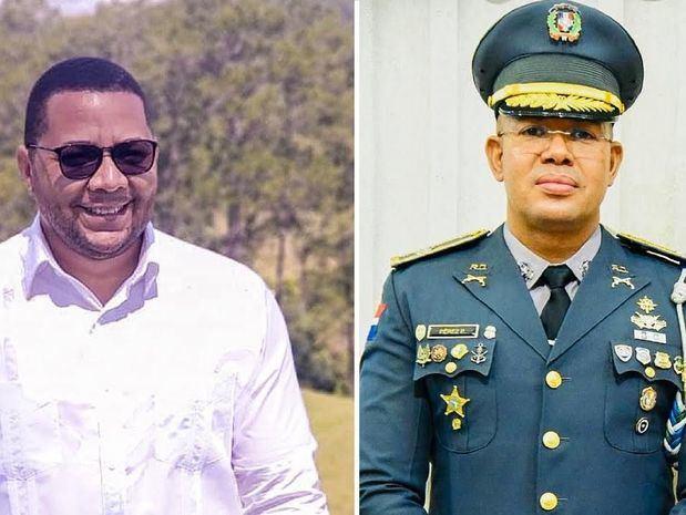 Edison Morel, director de comunicaciones de EDENORTE y el coronel de la Policía Nacional, licenciado Emmanuel Pérez Polanco.