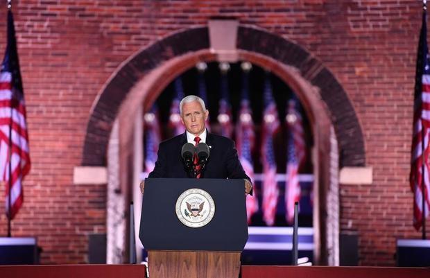 El vicepresidente de Estados Unidos y fórmula vicepresidencial a la reelección, Mike Pence, fue registrado este miércoles, durante una intervención en la Convención Nacional Republicana, en Baltimore, EE.UU.