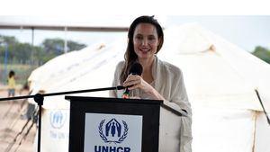 La actriz estadounidense Angelina Jolie, enviada especial de Acnur.