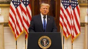 Fotograma de un video cedido por la Casa Blanca en el que se ve al presidente de EE.UU., Donald Trump, durante su discurso de despedida, este 19 de enero de 2021 en Washington.