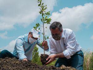 Los señores Christopher Paniagua y Orlando Jorge Mera realizan la siembra simbólica de un mangle en el Jardín Botánico de Santiago.