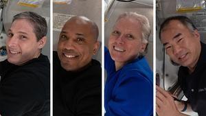 Combo fotográfico cedido este lunes por la NASA en el que aparecen (de i a d) los astronautas estadounidenses Michael Hopkins, Victor Glover y Shannon Walker y el japonés Soichi Noguchi, tripulación de la llamada SpaceX Crew-1 que regresa de la Estación Espacial Internacional para marcar el fin de la primera misión comercial completa de la empresa de Elon Musk en asociación con la NASA, de un total de seis.