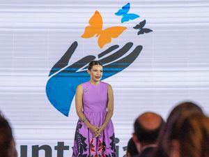 Noelia García, presidenta del Voluntariado Banreservas, durante la presentación de Educlic, en el hotel Embajador.