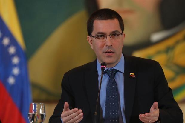 En la imagen un registro del canciller de Venezuela, Jorge Arreaza, en Caracas, Venezuela.