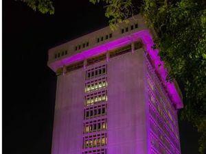 La iluminación rosada de sus edificaciones constituye una llamada a la concienciación para tomar medidas de prevención.