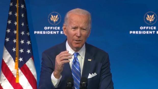 Fotograma cedido por la oficina del presidente electo de EE.UU., Joe Biden durante una conferencia de prensa, hoy 14 de enero de 2021, en Delaware, EE.UU.