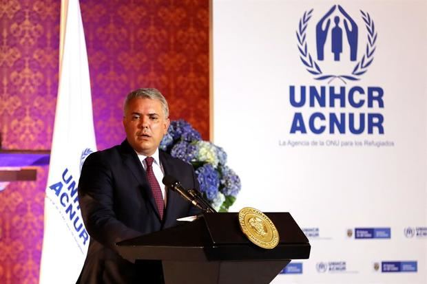 El presidente de Colombia, Iván Duque, habla hoy, lunes junto al Alto Comisionado de las Naciones Unidas para los Refugiados, Filippo Grandi, en Bogotá.