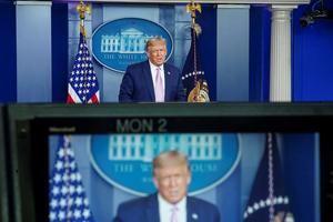 El presidente de Estados Unidos, Donald Trump, fue registrado este martes, durante una conferenciad e prensa, en la Casa Blanca, en Washington, EE.UU.