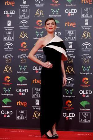 La actriz Marta Nieto, a su llegada a la entrega de los Premios Goya 2020 que se celebra esta noche en el Palacio de los Deportes José María Martín Carpena de Málaga.
