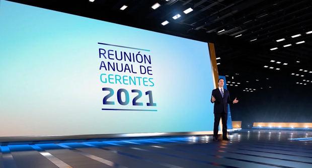 El señor Christopher Paniagua, presidente ejecutivo del Banco Popular, dio la apertura a la Reunión Anual de Gerentes 2021.