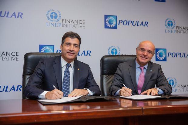 La adhesión del Banco Popular Dominicano a los Principios de Banca Responsable fue rubricada por el presidente ejecutivo del banco, señor Christopher Paniagua, y el coordinador residente del Sistema de las Naciones Unidas, señor Mauricio Ramírez Villegas.