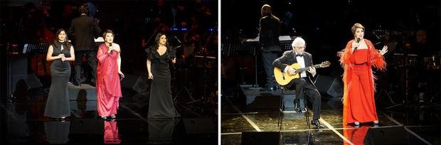 En varios momentos del concierto, contó con el acompañamiento de los artistas Carolina Rivas, Ana Rivas y Carlos Luis.