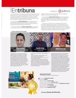 """La campaña publicitaria """"El Lado Positivo"""" del Banco Popular Dominicano fue reconocida por la revista Factor de Éxito y la Asociación de Agencias de Comunicación Comercial (Adecc)."""