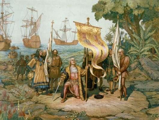 Representación gráfica de la llegada de Cristóbal Colón a América.