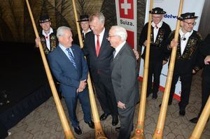 Ministro Industria y Comercio Nelson Toca, Embajador suiza Urs Schnider, Presidente Academia de Ciencias de RD.