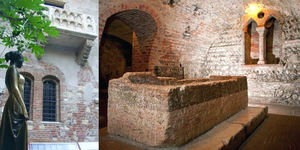 Estatua, balcón y tumba de Julieta.