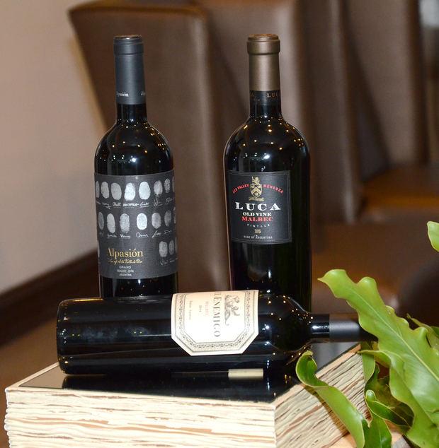 Vinos Malbec degustados en el festejo.