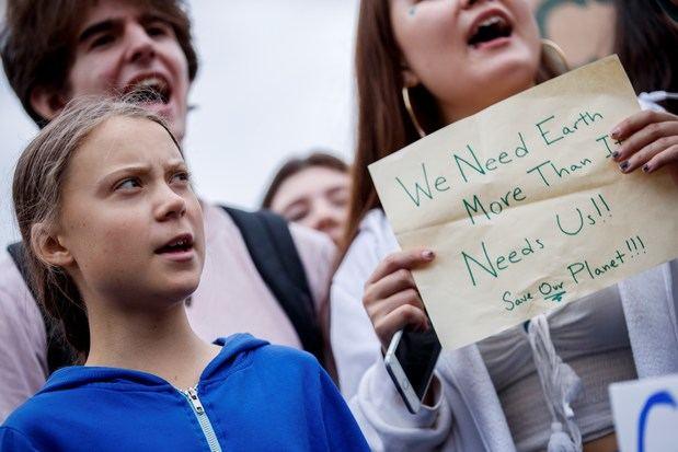 Greta Thunberg, activista del cambio climático de Suecia de 16 años, participa en una huelga escolar para la reforma climática en la Elipse cerca de la Casa Blanca en Washington, DC, EE. UU.