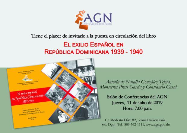 AGN invita - Puesta en circulación: El exilio español en República Dominicana 1939-1940