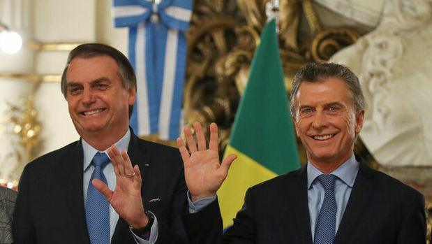 Jair Bolsonaro en la Casa Rosada junto a Mauricio Macri.