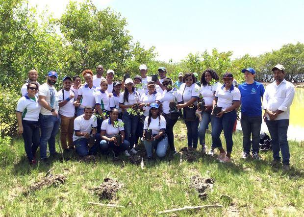 Miembros del Ministerio de Medio Ambiente ejecutan Programa de Restauración de Ecosistemas Costeros y Marinos, especialmente manglares,  con el objetivo de restaurar hábitats críticos degradados en  las provincias.