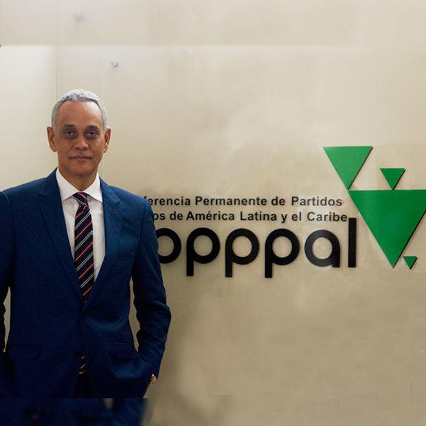 Presidente de la Conferencia Permanente de Partidos Políticos de América Latina y el Caribe (Copppal), Manolo Pichardo.