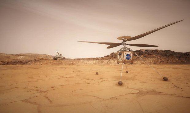 Ilustración preparada por la NASA que muestra el dron Ingenuity (en primer plano), y el rover Perseverance.