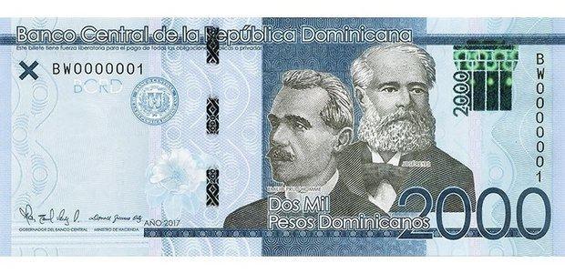 El Banco Central de la República Dominicana (BCRD) informó este jueves que a partir de mañana circulará otro billete de 2,000 pesos dominicanos, serie 2019.