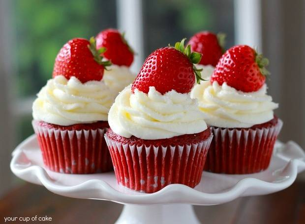 Cupcakes de fresas.