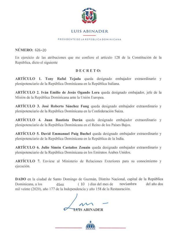 FacebookTwitterCorreoPinterest El presidente Luis Abinader designó mediante el decreto 626-20.