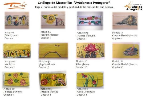 Catalogo de mascarillas artísticas disponibles.