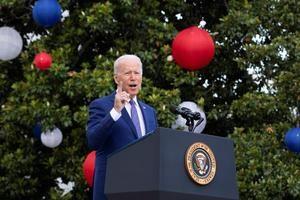 El presidente de Estados Unidos, Joe Biden, habla durante la celebración del Día de la Independencia en la Casa Blanca, en Washington, EE.UU. el 4 de julio 2021.