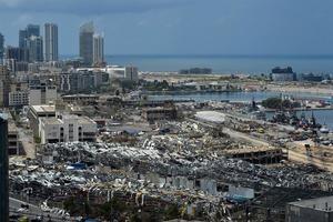 Vista de la ciudad de Beirut tras la explosión del pasado día 4.
