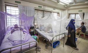 Imagen del archivo, tomada en julio del 2021, de pacientes de dengue en un hospital de Dakha, Bangladés.