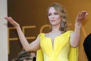 Uma Thurman llega al pase de la película 'Sils Maria' en el Festival de Cine de Cannes.