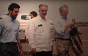 Luis Abinader junto a su padre en una foto de archivo.