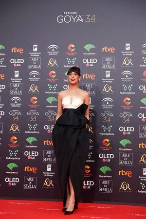 La actriz Belén Cuesta, a su llegada a la entrega de los Premios Goya 2020 que se celebra esta noche en el Palacio de los Deportes José María Martín Carpena, en Málaga.
