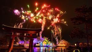 Fotografía cedida por Disney donde se muestra parte de su espectáculo 'Harmonious', que se estrenará este viernes como parte de las celebraciones del 50 cumpleaños de Walt Disney World en el parque temático EPCOT en Lake Buena Vista, Florida, EE.UU.