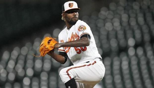 El lanzador relevista dominicano de los Orioles de Baltimore Miguel Castro.