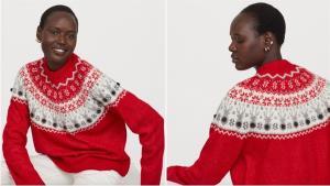 La firma sueca H&M también se suma a la tradición de la temporada con una propuesta colorista en rojo intenso, uno de los colores de la Navidad.