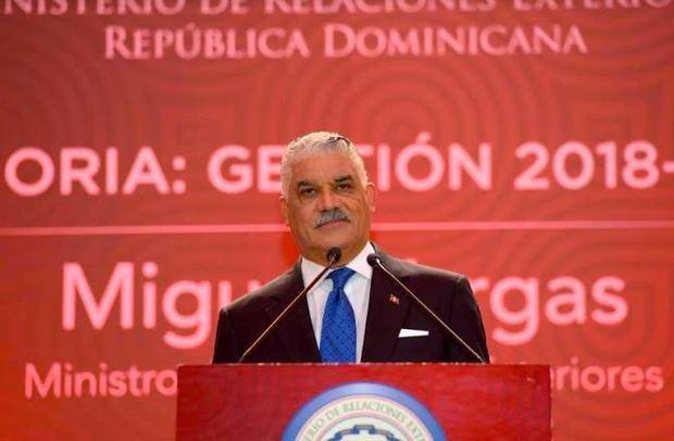 Miguel Vargas, ministro de Relaciones Exteriores durante la presentación de sus memorias de gestión del año 2018-2019.