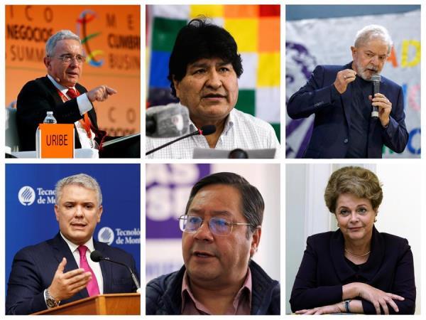 Combo de fotografías en las que se muestran (i-d) a los ex presidentes, Álvaro Uribe de Colombia, Evo Morales de Bolivia y Luiz Inácio Lula da Silva, en la parte superior de la imagen y (i-d) al presidente de Colombia, Iván Duque, el confirmado vencedor de las elecciones en Bolivia, Luis Arce, y la ex presidenta brasileña Dilma Rousseff, en la parte inferior.